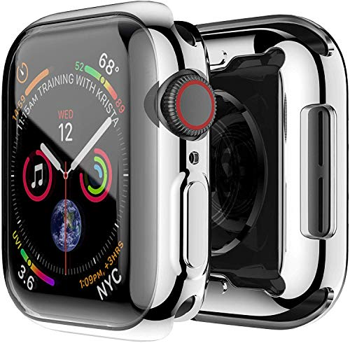 OJOS Case Compatible with Apple Watch 40mm Series 4 & Series 5 with Buit in TPU Clear Screen Protector All Around Protective Case High Definition Clear Ultra-Thin Cover for iwatch 40mm (Silver)