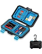 ARVOK Waterdichte beschermhoes voor geheugenkaarten, geheugenkaarthouder voor 27 geheugenkaarten: 4 CF-kaarten, 8 SD-kaarten, 9 TF-kaarten, 1 pin- en standaardsimkaart, 2 micro-SIM-kaarten en nano-simkaarten met karabijnhaak.