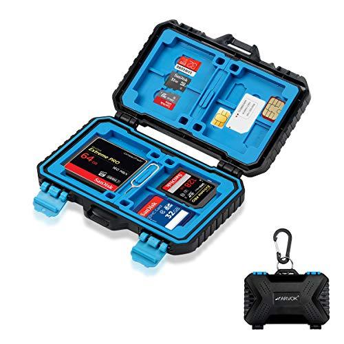 Arvok Custodia per Scheda di Memoria 27 Carta, Memory Card Case Impermeabile Anti-Shock Holder Storage per 4CF + 8SD + 9TF + 1Card Pin + 1Standard SIM + 2Micro-SIM + 2Nano-SIM Cards con Moschettone