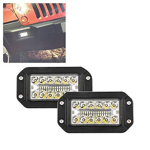 ACAMPTAR 2Pcs 12V 6 Pulgadas Luz de Trabajo de Montaje Empotrado 26 LED Super Brillante Proyector Faros de AutomóViles