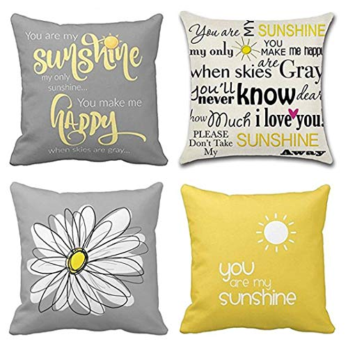 Emvency Set of 4 Throw Pillow Covers You are My Sunshine Yellow Gray with Chevron Words Decorative Pillow Cases Home Decor Square 20x20 Inches Pillowcases