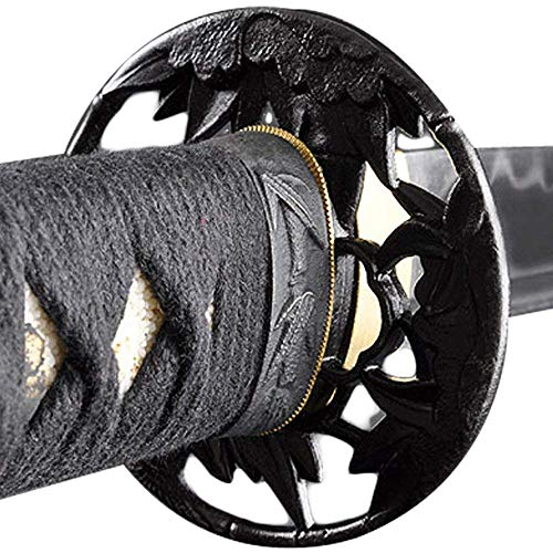 Handmade Sword - Japanese Samurai Katana Swords, Functional, Hand Forged, 1045 Carbon Steel, Clay Tempered, Damascus, Full Tang, Sharp, Bamboo Pattern Tsuba, Black Wooden Scabbard, Sword Certificate