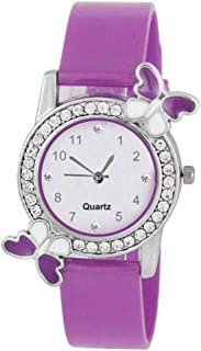 Glamexy Analog White Dial Purple Butterfly Watch for Girls and Women