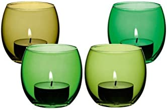 LSA International 6.5 cm Coro Tealight Holder, Glass, Leaf Assorted, H2.5in