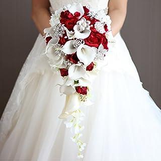 IFFO Calla Lilies Simulation Rose Diamonds Pearl Bride Wedding Bouquet (red)