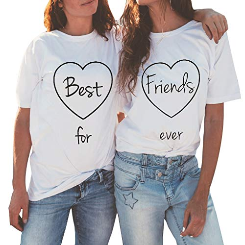 Battnot Damen T Shirt 2er Pack Grosse Grössen Weiss Kurzarm Brief Best Friend Forever Drucken Freizeit Slim Fit Rundhals Mädchen Tees, Frauen Bluse Sommer Oversize Pullover Pulli Womens Tops 4XL