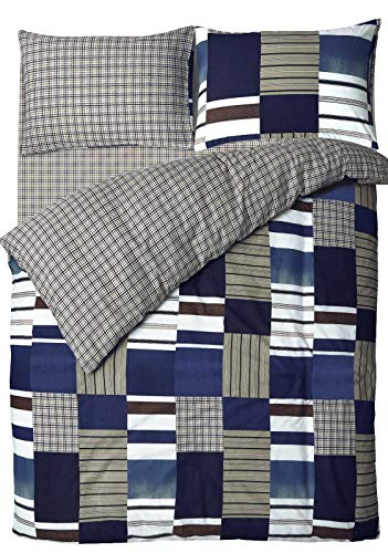 ShawsDirect Denim Patchwork Easy Care Bedding Reversible Quilt/Duvet Cover Set (Double)