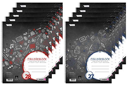 Landré Collegeblock A4, 5 linierte und 5 karierte Blöcke, schwarz, 10er Pack, 400150976