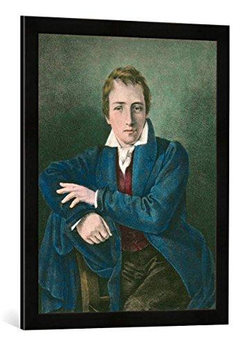 Gerahmtes Bild von Moritz Daniel Oppenheim Heinrich Heine/Lithogr.n.Oppenheim, Kunstdruck im hochwertigen handgefertigten Bilder-Rahmen, 50x70 cm, Schwarz matt