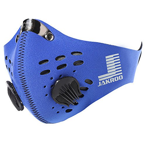 Filter Neoprene Dustproof Mask Pollution Mask Added Activated Carbon Filtration Layer for Exhaust Gas Anti Pollen Allergy PM2.5, Sports Half Face Mask for for Running Cycling Motorcycling Skiing Blue