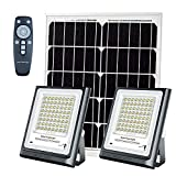 Led Solar Flood Lights Outdoor/Indoor with Remote Control Dusk to Dawn Dual 64 LEDs Solar Powered Security Floodlights Big Solar Panel IP66 Waterproof Warm White Light for Sign ,Barn,Yard,Pathway