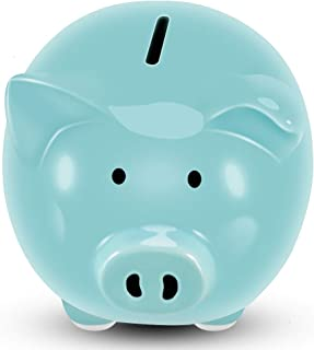 Koicaxy Piggy Bank, Child to Cherish Ceramic Pig Money Piggy Banks for Boys Girls Kids Blue