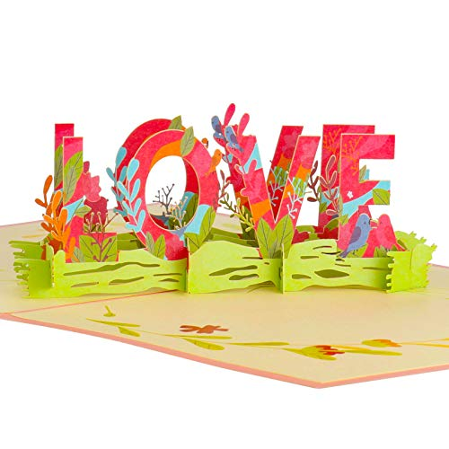 Chutoral Floral Love Pop Up Card, 3D Popup Greeting Cards Valentines Day Gift Postcard Happy Anniversary Card with Envelope for Wife,Mom,Lover