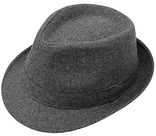 Simplicity Men's Manhattan Fedora Hat Grey Color Cap