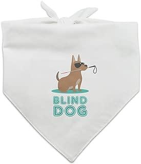 Blind Dog with Sunglasses and Cane Dog Pet Bandana - White