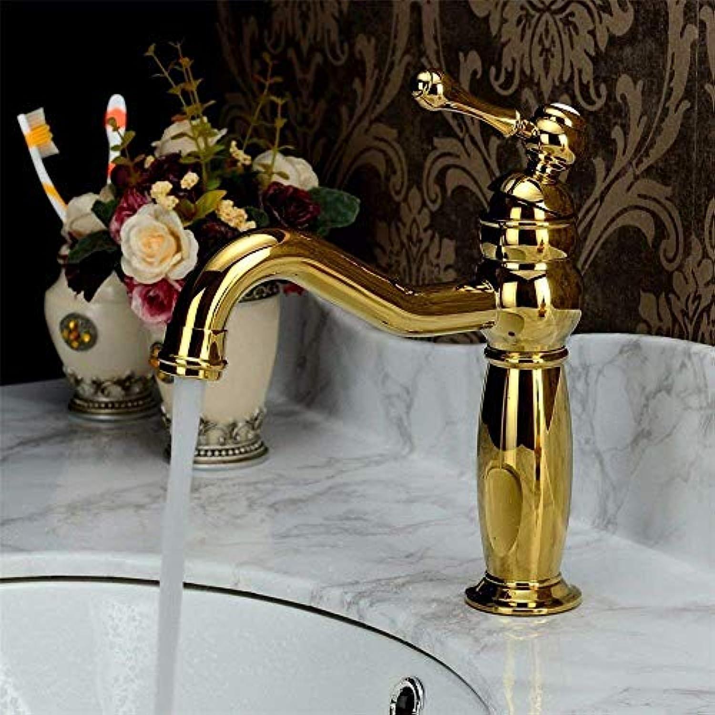 Oudan Küchenmischer hahn Gold küche waschbecken Becken mischbatterie massiv Messing heies und kaltes Wasser antik Gold sinken Wasserhahn (Farbe   -, Gre   -)