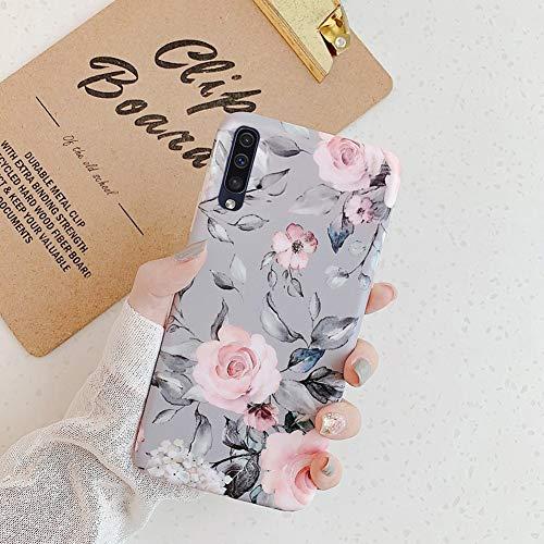 Kompatibel mit Samsung Galaxy A50 Hülle,Handyhülle Galaxy A50 Case Blumen Blätter Ultradünn TPU Silikon Hülle Schutzhülle Crystal Clear Silikon Bumper Rückschale Case Cover,Grau