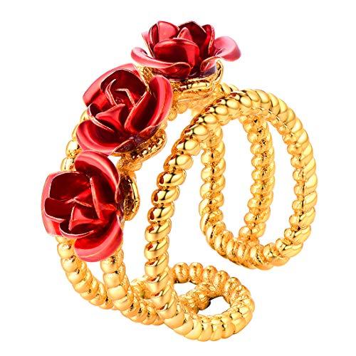 U7 Anillo de Rosa Oro 18k Anillo Ajustable Ancho para Dedos Material Resistente latón Anillo romántico para día valentín joyerías deliciosas