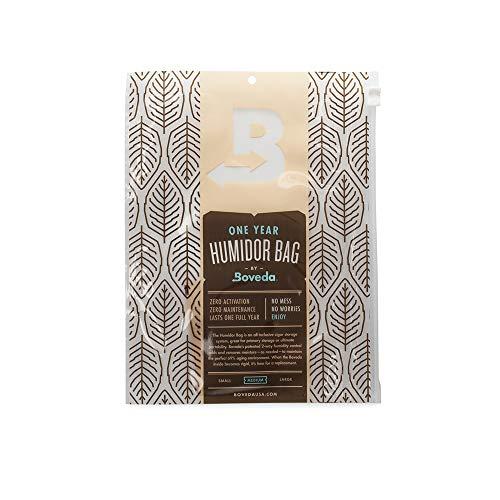 Boveda para puros | Bolsa para humidor mediana | Incluye Boveda de 69% HR para un control doble de la humedad | Para guardar 10-15 puros | Pack de 1