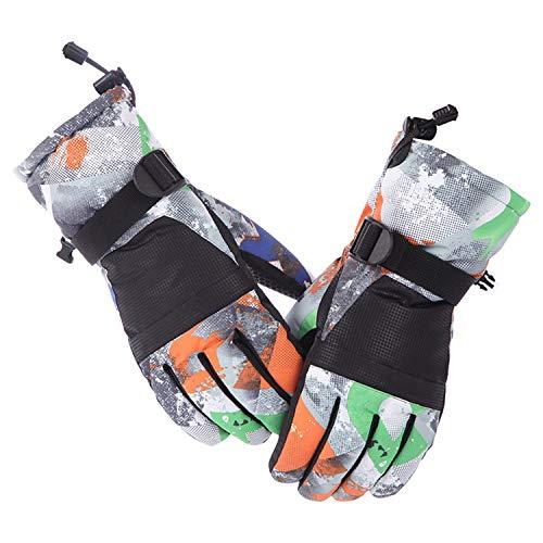 Aibrou Damen/Herren TouchscreenGraffitiSkihandschuhe Wasserdichte und Winddichte Handschuhe, Sporthandschuhe für Ski,Radfahren,Snowboard Radfahren und Wandern Bunt L