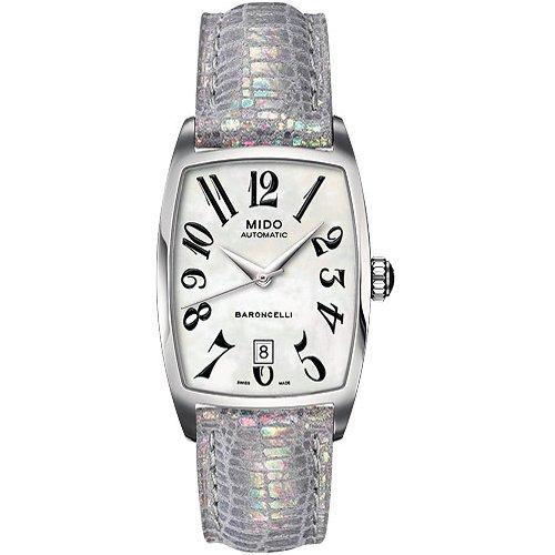 MIDO Baroncelli Tonneau M0033071612200 - Reloj de Mujer automático, Correa de Piel Color Plata