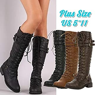 Winter Fashion Womens Knee High Warm Boots Buckle Fashion Military Combat Boots 3 Colors Size 4-11(Brown,US5/EU35-for Sale)