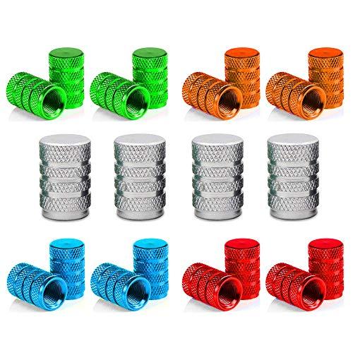 Senven 20Pcs Cappucci per valvole in alluminio colore alta qualità, Cappucci parapolvere per pneumatici, auto, moto, camion, Evitare perdite d'aria - Coperture per valvole universali per pneumatici