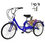 GNEGNIS Erwachsene Dreirad mit 24 Zoll Rad Legierung Rahmen 7 Geschwindigkeit Gänge 3 Rad Fahrrad Trike Dreirad mit Einkaufskorb für Erwachsene und Senioren (Blau)