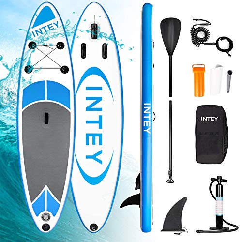 INTEY Inflatable Stand Up Paddle Board (6 Inches Thick) Standing Boat for Youth & Adult with Premium SUP Accessories & Backpack | Wide Stance, Three Fins for Paddling, Surf Control, Non-Slip Deck