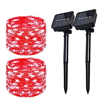 Solar Christmas String Lights Outdoor Waterproof 72ft 100 LED?2 Pack? 8 Modes Copper String Lights Fairy Lights for Garden, Patio, Fence, Balcony, Outdoors(red 2pcs)