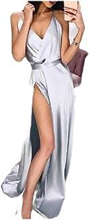 Mfacisa Womens Sexy Plus Size Split Color sólido V Cuello Correa Vestido de Fiesta