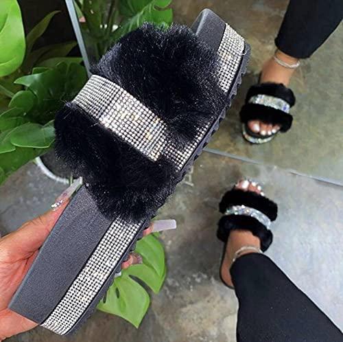 COQUI Chanclas Hombre,Taladro de Agua Gruesa Zapatillas de Pelo Hembra otoño Nueva Palabra Plana Palabra Arrastrar Grande tamaño Zapatos de Mujer-Negro_42