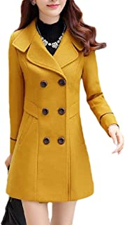 Macondoo Womens Fall Winter Double-Breasted Outwear Woolen Blend Lapel Peacoats