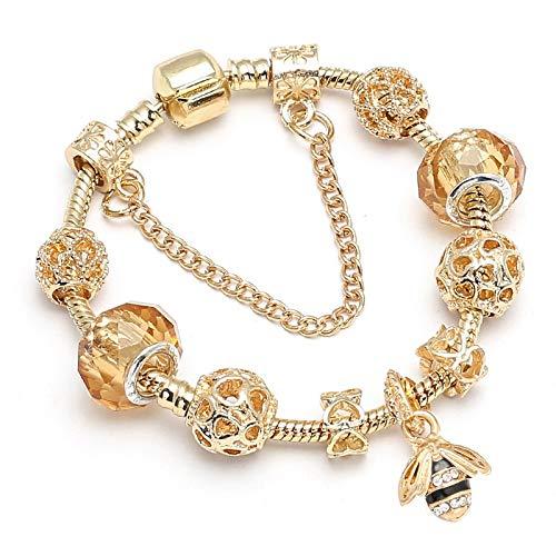 IJEWALRY Damen Armband Armbänder Armband,Mode Persönliche Nette Rosa Schöne Kitty Cat Anhänger Perlen Charme Armband Für Frauen Cartoon Mickey Feines Armband Kinder Geschenk