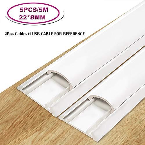 Kabelkanal, 5 m Kabelabdeckung, PVC-Kabel, überstreichbare Kabelabdeckung zum Verstecken von Lautsprecherkabel, Ethernet-Kabel, 5 x L1 m, 32 x H10 mm, außen, 14 x 8, innen, weiß