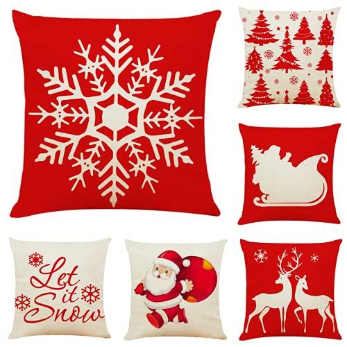 YRWL Juego de 6 fundas de almohada para decoración navideña, algodón y lino, para sofá, oficina, siesta, coche, franela, 45 x 45 cm