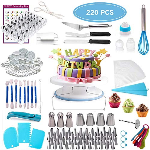 Cake Decorating Supplies,220pcs Baking Supplies Accessories With Cake Rotating Turntable,48 Piping Icing Tips,2 Icing Spatula,4 Russian Tips,1 Whisk,Cupcake Decorating Kit
