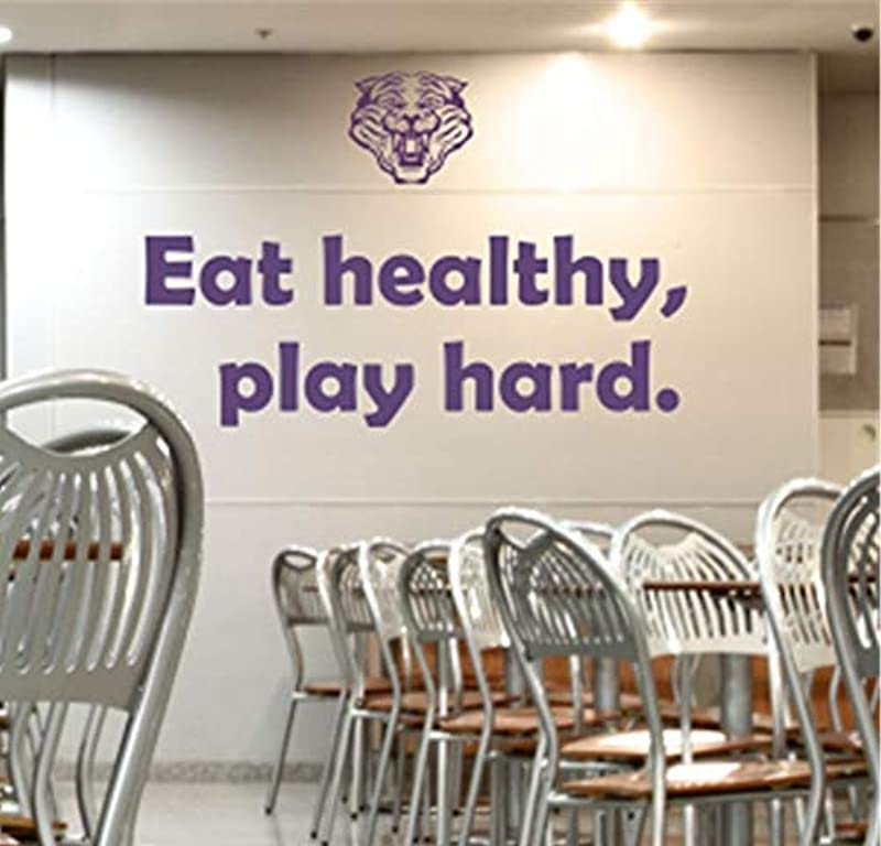 Uertyz Wall Decal Sticker Art Mural Home Decor Quote Eat Healthy Play Hard School Cafeteria Student For Nursery Kid Room Child