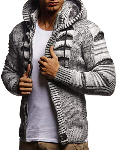 LEIF NELSON Men's Stylish Knit Sweater | Knitted Warm Sweatshirt Pullover With Hood | LN5605; Large, Gray-Black