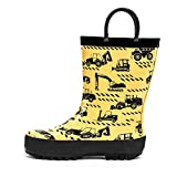 ADAMUMU Toddler Kids Rain Boots Childrens Waterproof Rubber Shoes with Easy-On Handles Lightweight in Cartoon Patterns for Boys & Girls