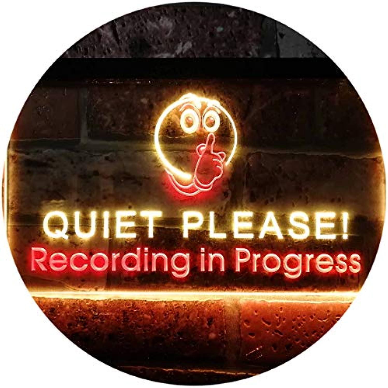 ADVPRO Recording in Progress Quiet Please On Air Studio Dual Farbe LED Barlicht Neonlicht Lichtwerbung Neon Sign rot & Gelb 400mm x 300mm st6s43-m0096-ry