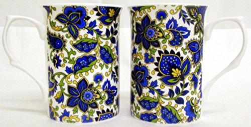 Motif cachemire Set de 2 Mugs Tasses en porcelaine fine Motif cachemire Bleu décoré à la main au Royaume-Uni