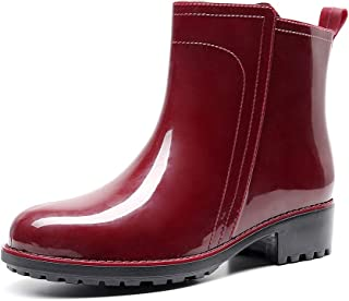AlwaysU Women's Ankle Rain Boots Waterproof Rubber Short Rainboots Ladies Garden Outdoor Mud Mid Calf Boots Shoes Slip On Booties with Comfortable Insole 2 Color