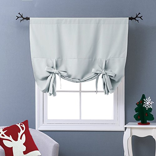 NICETOWN Balloon Shades Window Treatment Valance - Room Darkening Curtains Tie Up Shade for Window (Greyish White, Rod Pocket Panel, 46 inches W x 63 inches L)