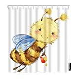 1.SIZE:72x72 Inch(180x180cm)This fabric shower curtain is printed only on front side 2.MATERIAL:This Bee bath shower curtain is made of 100% polyester and harmless to the environment.It's comfortable, soft and smooth to touch 3.FEATURES:This fabric s...
