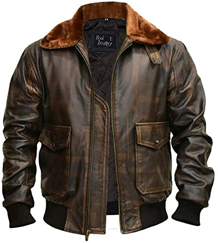 Right Jacken Herren G-1 Pelzkragen US Navy Flight Distressed Brown Aviator Echtlederjacke - S