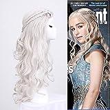 CAR-TOBBY Lange blonde Daenery Targaryen Khaleesi Cosplay Perücke Silber-graue handgemachte Zöpfe lockiges Haar Perücke