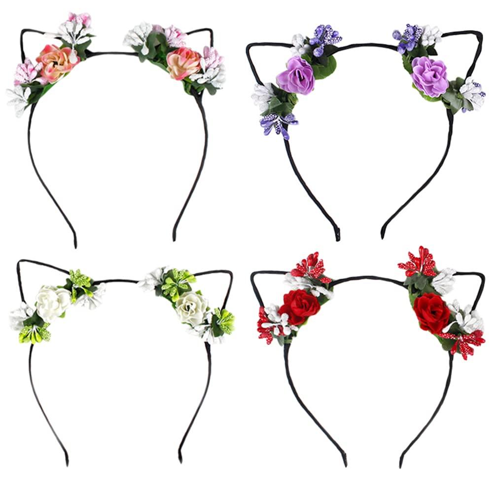 Luxshiny Flower Headband 4Pcs Cat Ear Hair Hoop Berry Hollow Headdress Head Band Hair Clasp for Party Festival Halloween