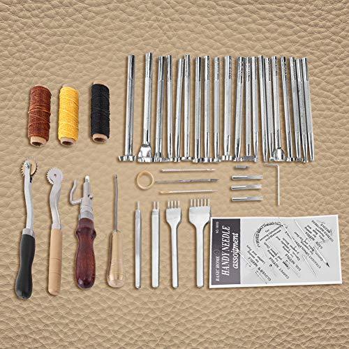 Prägen Beveler Tool Kit Leder Bastelwerkzeuge Nähzubehör Wachsgarn-Nähset für DIY Ledernähen