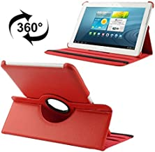 Premium PU Leather Exterior Tablet Case Compatible With Samsung Galaxy Tab 2 (10.1) / P5100 360 Degree Rotatable Litchi Texture Leather Case With Holder (Color : Red)
